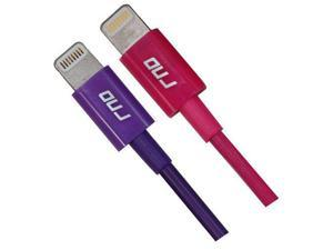 RND 2x Apple Certified Lightning to USB 1.5FT Cable for iPhone (10/X/8/8 Plus/7/7 Plus/6/6 Plus/6S/6S Plus/5) iPad (Pro/Air/Mini) iPod Data Sync and Charge Cable (1.5 feet/.5 Meter/Pink/Purple) 2-Pack