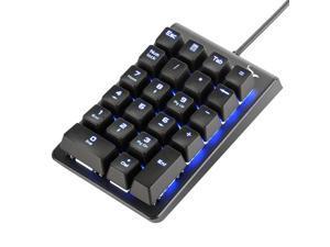 Number Pad, ROTTAY Mechanical USB Wired Numeric Keypad Blue LED Backlit 22-Key Numpad Laptop Desktop Computer PC - Black (Blue switches)