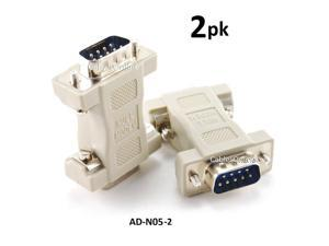 CablesOnline DB9 Serial Null Modem Male to Male Data Transfer Adapter/Gender Changer , (2-Pack) (AD-N05-2)