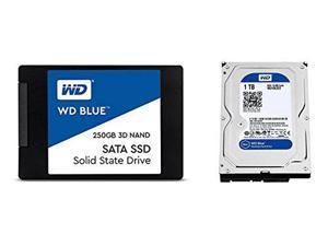 WD Blue 3D NAND 250GB SATA III SSD  + WD Blue 1TB SATA III 7200 RPM Hard Drive Bundle