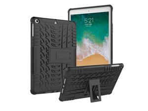 iPad 9.7 Inch 2017/2018 Case, iPad Air 1474 Case with Kickstand Rugged Impact Resistant Full Body Protective Case Fit Apple iPad 9.7 2018/2017 (A1893/A1954/A1822/A1823)/ iPad Air 2013 Model-Black