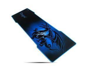 """excovip 3mm Blue Extra Extended Gaming Mouse Pad, 35"""" x 12"""" x 3mm Non-Slip Rubber Backing Stitched Edges and Ultra Thick (Blue Taming Dragon Mat)"""
