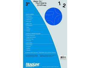 Headline Sign 31334 Stick-On Vinyl Numbers, Blue, 3-Inch