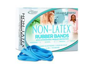 """Alliance Rubber 42649  #64 Non-Latex Antimicrobial Rubber Bands, 1/4 lb box contains approx. 95 bands (3 1/2"""" x 1/4"""", Cyan Blue)"""