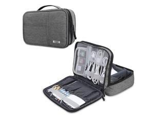 BUBM Electronic Organizer, Double Layer Electronic Bag for Cables, Plugs, External Hard Drive and Other Electronic Accessories (Small/Denim Gray)