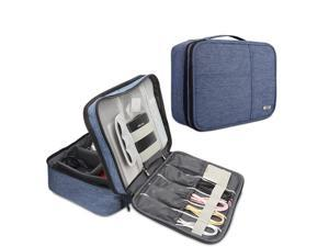 BUBM Electronic Organizer, Double Layer Electronic Bag for Cables, Plugs, External Hard Drive and Other Electronic Accessories (Large/Denim Blue)