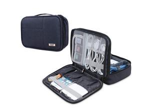 BUBM Electronic Organizer, Double Layer Electronic Bag for Cables, Plugs, External Hard Drive and Other Electronic Accessories (Small/Dark Blue)