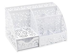 EasyPAG Office Metal Desk Organizer 6 Compartments + Drawer Mixed Pattern Design White