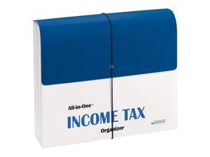 Smead All-in-One Income Tax Organizer, 13 Pockets, Flap and Cord Closure, Letter Size, Navy/White (70660)