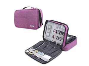 BUBM Electronic Organizer, Double Layer Electronic Bag for Cables, Plugs, External Hard Drive and Other Electronic Accessories (Medium/Denim Pink)