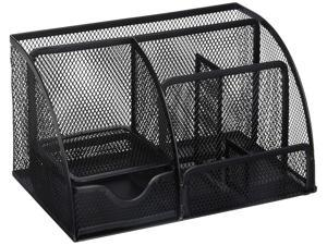 Greenco GRC2548 Mesh Office Supplies Desk Organizer Caddy, 6 Compartments, Black