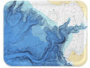 Trays4Us Monterey Bay Bathymetric Chart Birch Wood Veneer 16x12 inches (Large) TV/Serving Map Tray - 100+ Different Designs