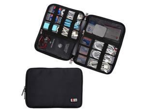 BUBM Travel Cable Organizer, Universal Electronics Accessories Storage Bag Cord, Earphone, USB Flash Drive, Memory Card More, Lightweight Compact,Black