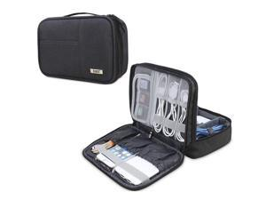 BUBM Electronic Organizer, Double Layer Electronic Bag for Cables, Plugs, External Hard Drive and Other Electronic Accessories (Small/Black)