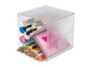 """Deflecto Stackable Cube Organizers Cross Divider, Desk and Craft Organizer, Clear, Removable Dividers, 6""""W x 6""""H x 6""""D (350201CR)"""