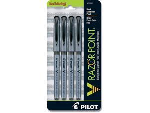 Pilot V Razor Point Liquid Ink Marker Pens, Extra Fine Point, 4-Pack, Black Ink (11025)