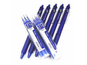 Pilot Frixion Ball Knock Retractable Erasable Gel Ink Pens,fine Point, 0.7 mm - Blue Ink- Value Set of 5 & 6 Gel Ink Pen Refill Pack