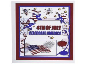 3dRose 4th of July Celebrate America Flag Stars and Firecrackers - Greeting Cards, 6 x 6 inches, set of 12 (gc_20170_2)