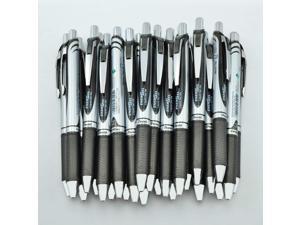 Pentel EnerGel RTX Deluxe Retractable Liquid Gel Pen, Fine .7mm Metal Tip, Black Ink, Silver Barrel (Bulk Lot of 25) (BL77-A)