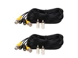 VideoSecu 2 Pack 50ft Feet Pre-made All-in-One BNC Video and Power Extension Cable with Connectors for CCTV Security Camera CWO