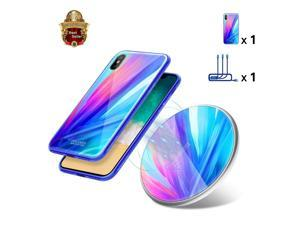 Fast Wireless Charger Kit, Nillkin [Fancy Gift Set] Qi-Certified 10W Wireless Charging Pad with 3 in 1 Charging Cable & iPhone X Tempered Glass Case for iPhone X - Blue