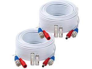 Tainston 2 Pack 60 Feet BNC Video Power Cable Wire Pre-Made All-in-One Video Security Camera Wire with Connectors for CCTV Camera DVR Surveillance System
