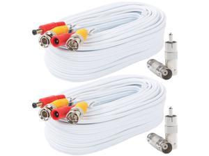 Postta BNC Video Power Cable (2 Pack 30 Feet) Pre-made All-in-One Video Security Camera Cable Wire with Four Connectors for CCTV DVR Surveillance System
