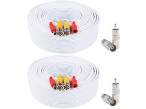 Postta BNC Video Power Cable (2 Pack 130 Feet) Pre-made All-in-One Video Security Camera Cable Wire with Four Connectors for CCTV DVR Surveillance System