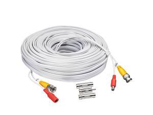 BNC CCTV DVR Cable Video Surveillance Security System Camera Coaxial Wire Cord Connector (60ft) Premade All-in-One Power Cord - 60 Feet