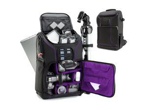 """USA GEAR Digital SLR Camera Backpack w/15.6"""" Laptop Compartment (Purple) features"""
