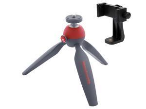 Manfrotto MTPIXI-RD PIXI Mini Tripod (Red), With A Bonus ZAYKiR Universal Smartphone Tripod Adapter