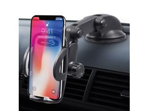 Car Phone Mount, Beyyon Windshield Dashboard Cell Phone Holder for Car Adjustable Dash Car Phone