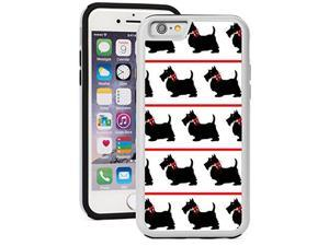 For Apple iPhone Shockproof Impact Hard Soft Case Cover Black Scottie Scottish Terrier Dogs With Red Bows (White for iPhone 7 Plus)