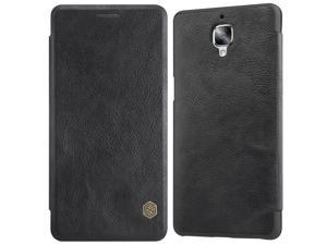 Oneplus 3 Case,Premium PU Leather Card Holder Slot Folio Case, Synthetic Leather Flip Cover Hard PC Inner Shell Slim Hybrid Case with Card Slot for Oneplus 3 (Black)