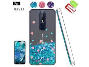 Nokia 7.1 Cases with Screen Protector for Girls Women, Luxury Bling Diamond Quicksand Liquid Clear TPU Protective Phone Case for Nokia 7.1 Blue