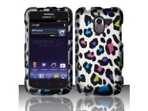 Blue Pink Purple Colorful Leopard Hard Cover Case for Zte Avid 4G N9120 by ApexGears