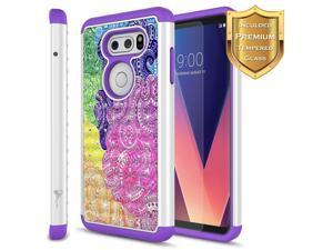 LG V35 ThinQ Case, LG V30 Case, LG V30S, LG V30 Plus Case w/ [Tempered Glass Screen Protector], NageBee [Hybrid Protective] Armor [Studded Rhinestone Bling] Diamond Cute Case for LG V30 (Rainbow)