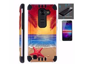 For LG K10 Case / LG Premier Case L62VL L61AL+ Tempered Glass Screen  Protector / Slim Dual Layer High Impact Armor Hybrid TPU KomBatGuard Phone  Cover