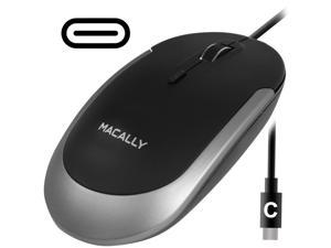 Macally Silent USB Type C Mouse Wired for Apple Mac & Windows PC Laptop/Desktop Computer   Slim & Compact Mice Design & Optical Sensor & DPI Switch 800/1200/1600/2400   Small for Easy Travel (Black)