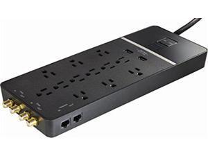 Rocketfish - 12-Outlet/2-USB Surge Protector Strip - Black