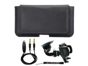 Wallet Holster Leather Case for Huawei Y3, Google Pixel 3, BlackBerry KEY2 LE, Nokia 7.1, Xiaomi Mi 9 + Windshield Car Mount & AUX Cable
