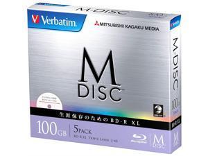 1000 Years Archival Verbatim M-Disc BDXL Inkjet Printable | 100GB 4x Speed | 5 Pack Jewel Case