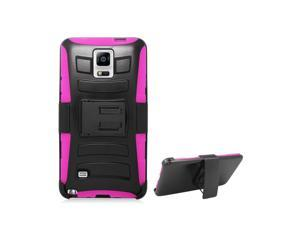 Aimo Wireless For Samsung Galaxy Note 4 (AT&T/Sprint/T-Mobile) Black Armor w/stand, Hot Pink skin& Black Belt Clip