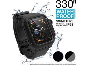 Catalyst Waterproof Apple Watch Case Series 4 44mm with Premium Soft Silicone Apple Watch Band, Shock Proof Impact Resistant [Rugged iWatch Protective case] - Stealth Black