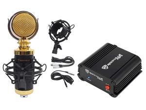 Rockville RCM02 Studio Recording Condenser Microphone+Phantom Power Supply
