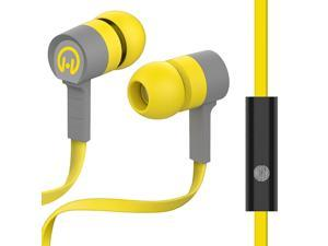HyperGear Low Rider Wired Earphones with Microphone. Comfort-fit Ear Gel Designed to Block out Noise and Seal in Sound. Hands-free Calls & Music (Yellow/Grey)