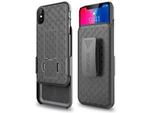 iPhone X/XS Holster Case, Aduro Combo Shell & Holster Case - Super Slim Shell Case with Built-in Kickstand, Swivel Belt Clip Holster for Apple iPhone X/XS/iPhone 10 (2018/2017)