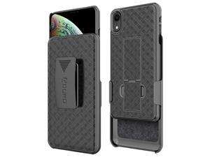 iPhone Xs Max Holster Case, Aduro Combo Shell & Holster Case - Super Slim Shell Case with Built-in Kickstand, Swivel Belt Clip Holster for Apple iPhone Xs Max (2018/2019)