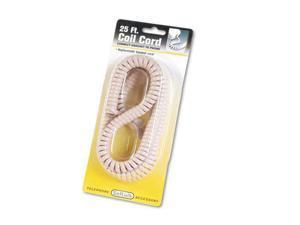 SOFTALK 42260 Coiled Phone Cord, Plug/Plug, 25 ft, Beige