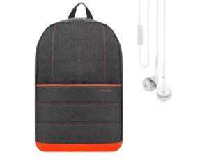 Vangoddy Grove Backpack School Rucksack (Coral Orange) for Lenovo IdeaPad, ThinkPad 14 to 15.6 inch Laptop with Stereo Earphone with Mic